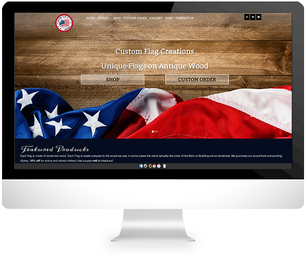 custom flag company website and ecommerce design